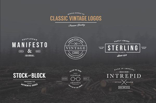 Vintage Logo Bundle 60 Off By Jeremy Vessey Via Behance Vintage Logo Vintage Logo Design Retro Logo Design