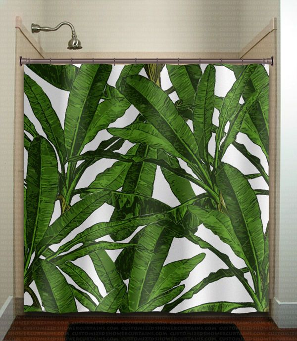 Tropical Jungle Palm Banana Leaf Shower Curtain Brazilliant
