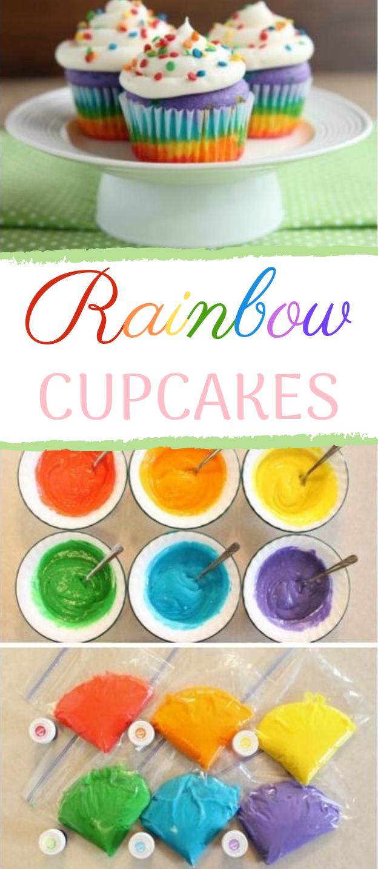 Rainbow Cupcakes #cake #desserts