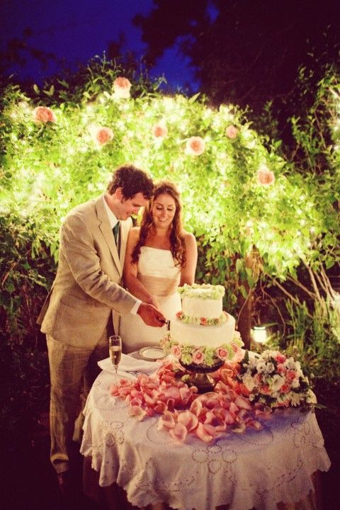 Bride and groom cute pink and green flowered cake, Boulder, CO, Colorado, Classic Creations, Jared Wilson