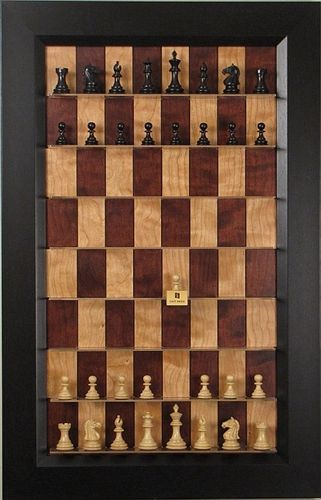 Straight Up Chess Board Red Cherry Series with Flat Black Frame