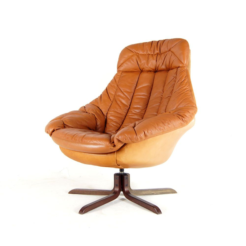 Retro Vintage Danish Brahmin Swivel Base Leather Armchair Lounge Egg Chair  70s