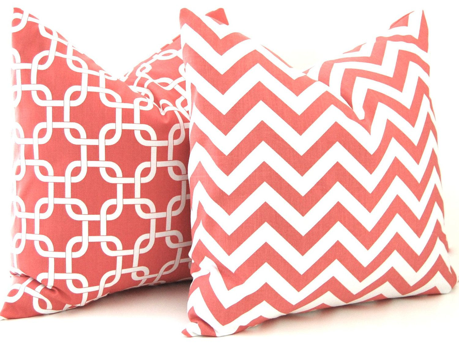 Coral Pillows Decorative Throw Pillow Covers Chevron Pillows 17 x ...