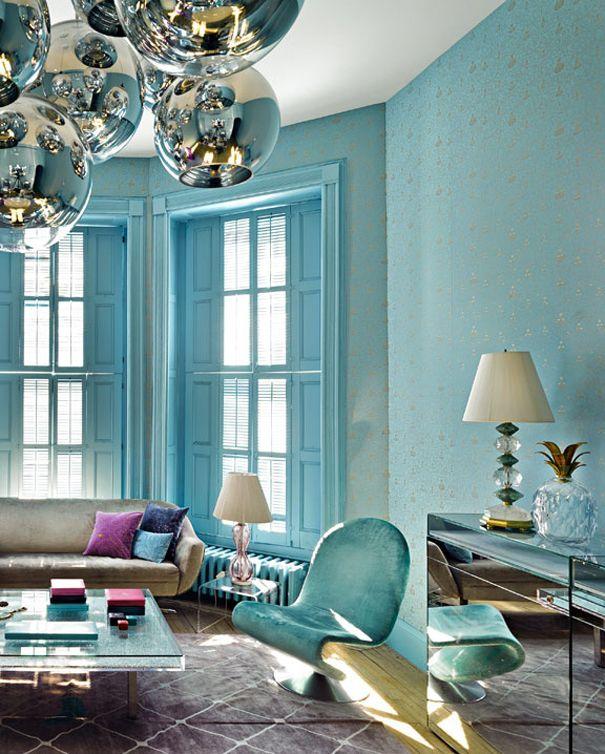 ECLECchic UNA JOYA DE APARTAMENTO Идеи для дома Pinterest - wohnzimmer blau turkis