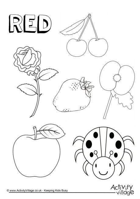 Red things colouring page Color red activities