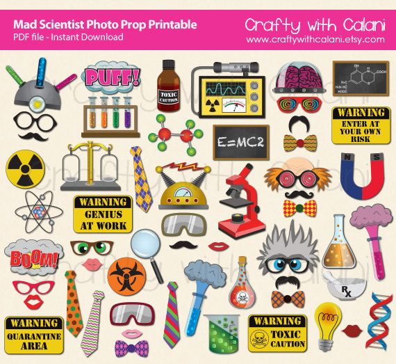 mad scientist party booth prop printable children science theme