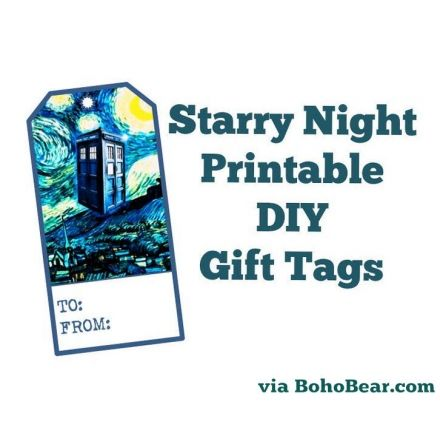 Doctor Who Inspired Starry Night TARDIS Printable Gift Tags