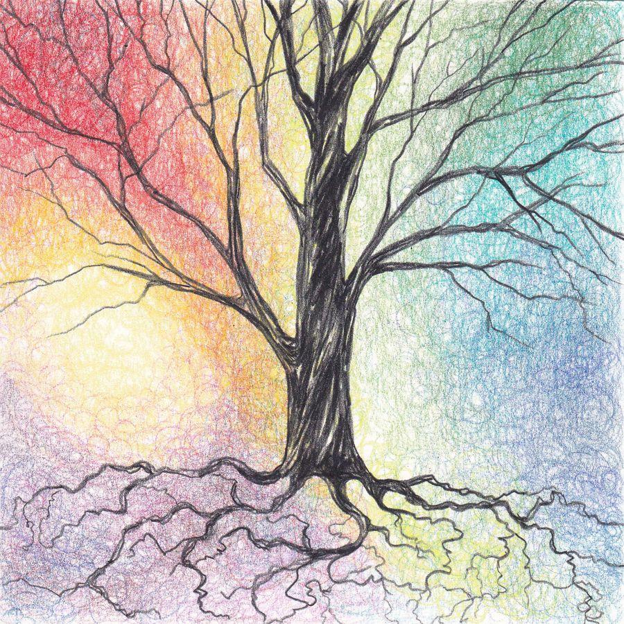 Colored Pencil Tree Art Tree Art Pastel Background