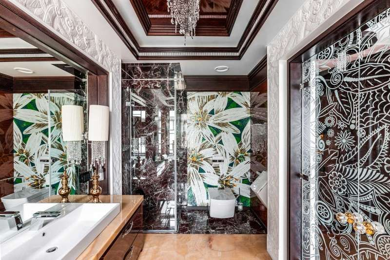 Luxus Badezimmer mit Naturstein und Mosaik jf home Pinterest