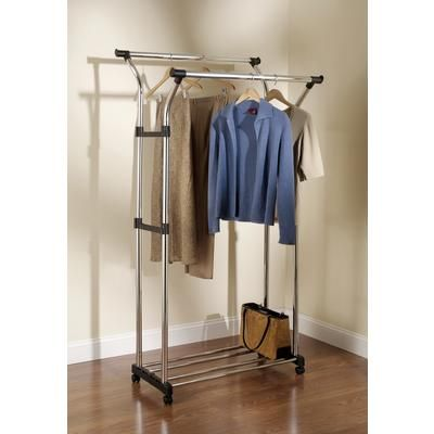 Home Depot Garment Rack Entrancing Rubbermaid  Double Hang Garment Rack With Wheels  3B1903Chrom Decorating Inspiration