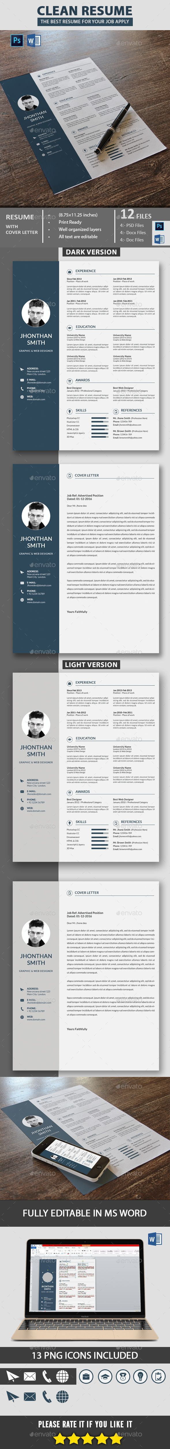 Professional Resume Template Bundle | CV Package with Cover Letters ...