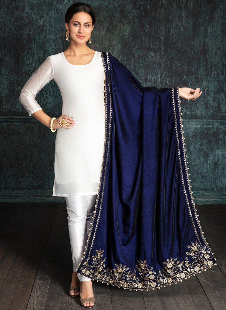 Navy Blue Embroidered Velvet Shawl Velvet Dress Designs Indian Designer Outfits Dress Indian Style