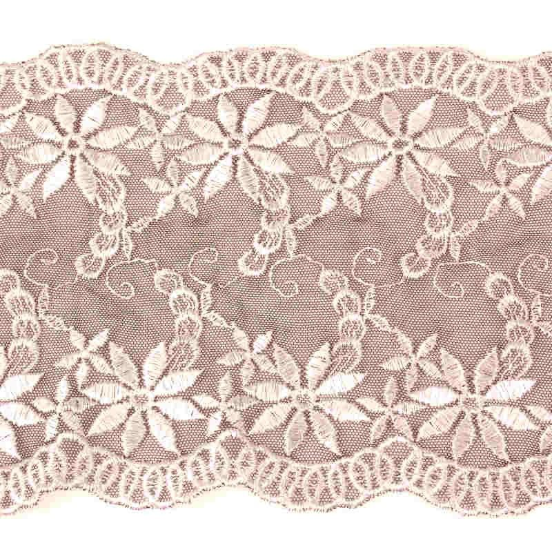 Flat Embroidered Lace Black White 18cm 7""