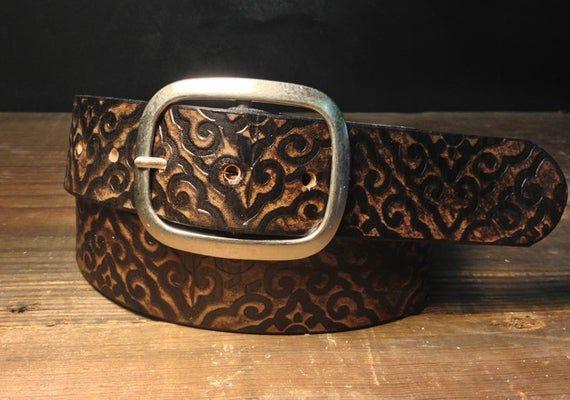 Ceinture en cuir gaufré, ceinture motif damassé en Vintage vieilli ceinture bouton pression en cuir fait à la main en USA garçons dhonneur de mariage cadeau unisexe motif Tribal