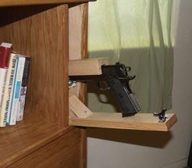 Covert furniture bed headboard with hidden gun storage for Bedhead storage ideas