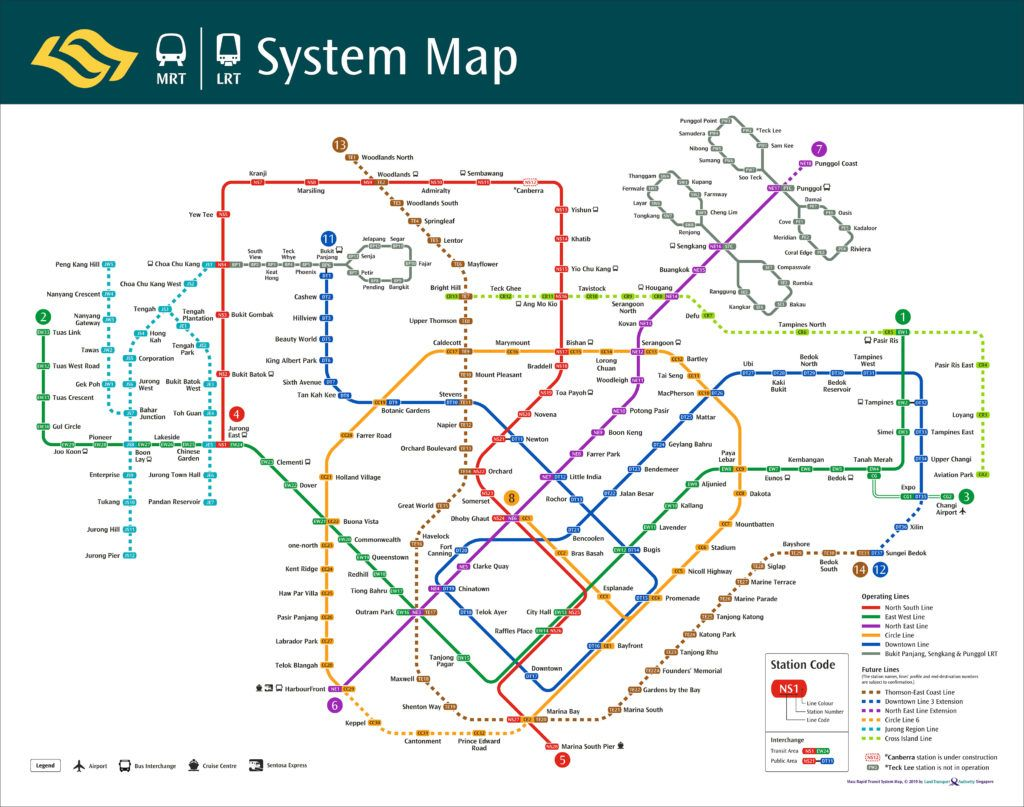 Singapore 2019 Family Trip System Map Lrt Map Singapore Map