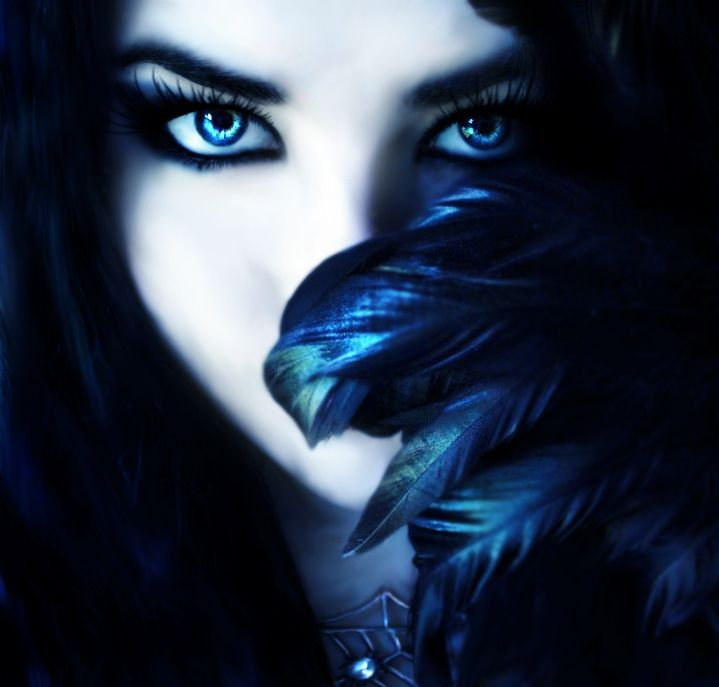 Black Hair Ice Blue Eyes Beautiful Dark Witch With Long Black
