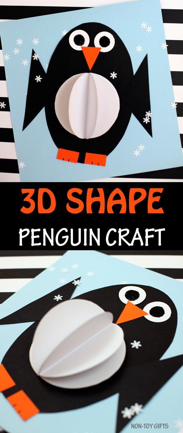 3D shape penguin craft for kids