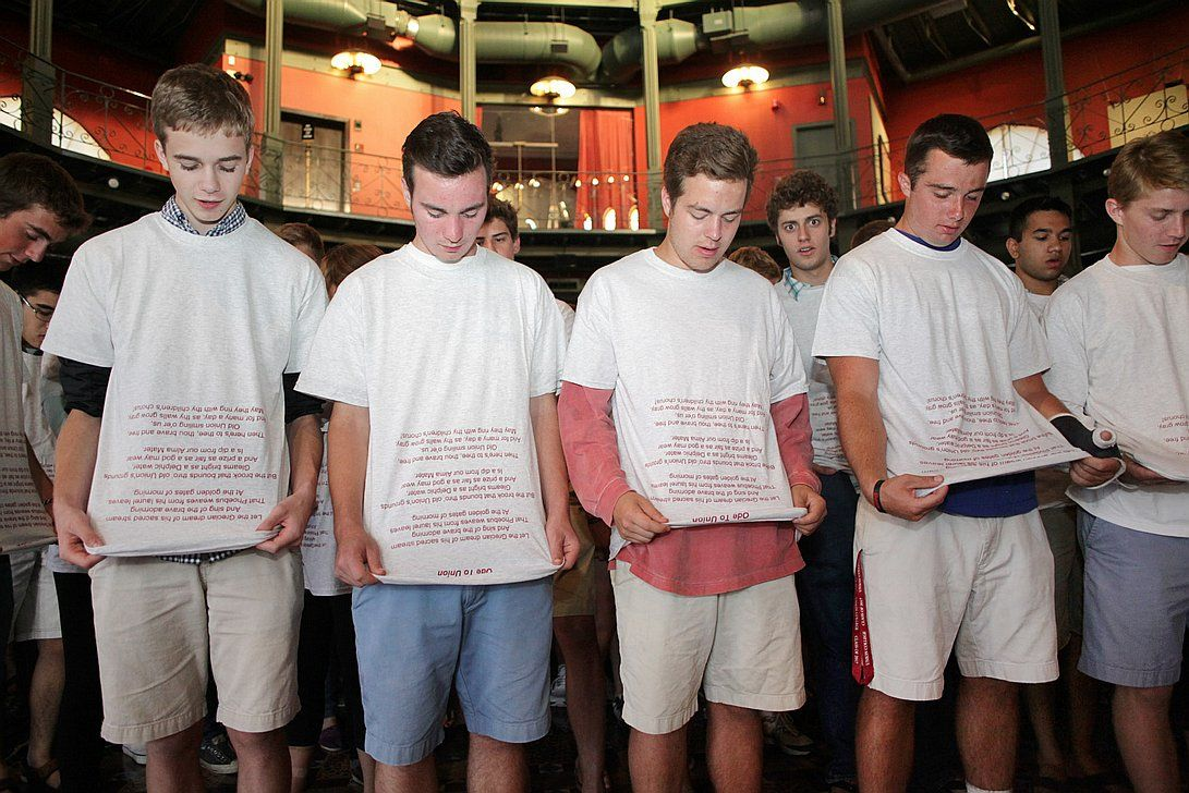 Union College's lyrics shirt. Freshman who don't remember the words sing the alma mater song off their new t-shirts at Union College.