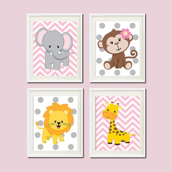 Wall Art Decor Nursery : Jungle nursery wall art elephant monkey giraffe lion zoo