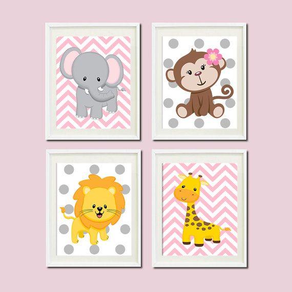Safari Nursery Decor Jungle Theme Nursery Nursery Artwork: JUNGLE Nursery Wall Art, Prints Or Canvas, Pink Gray