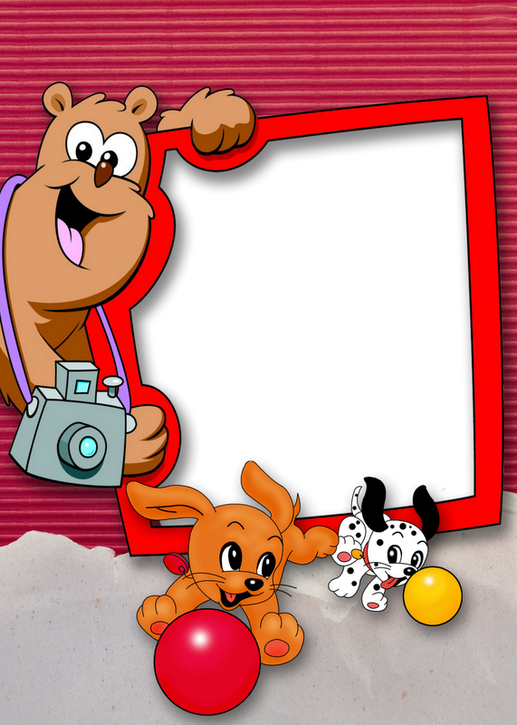 Cute Kids Red Transparent Frame with Puppies | Clip art ...