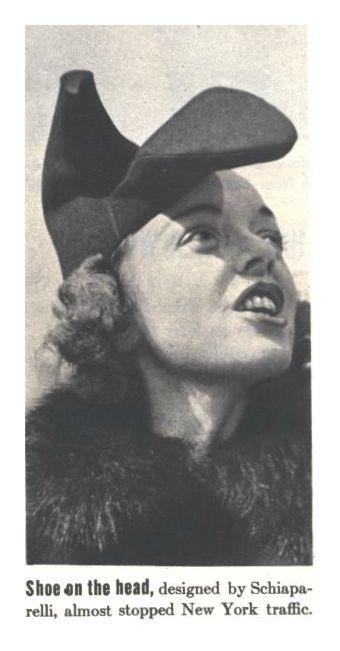 Elsa Schiapparelli + Salvador Dali, High Heel Hat, 1937-38