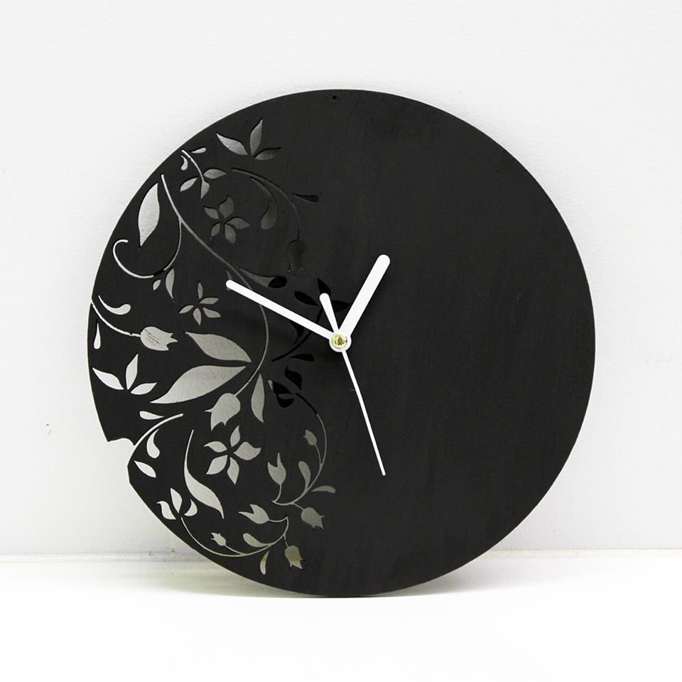 Laser Cut Wall Clock Modern Floral Design by antpgomes