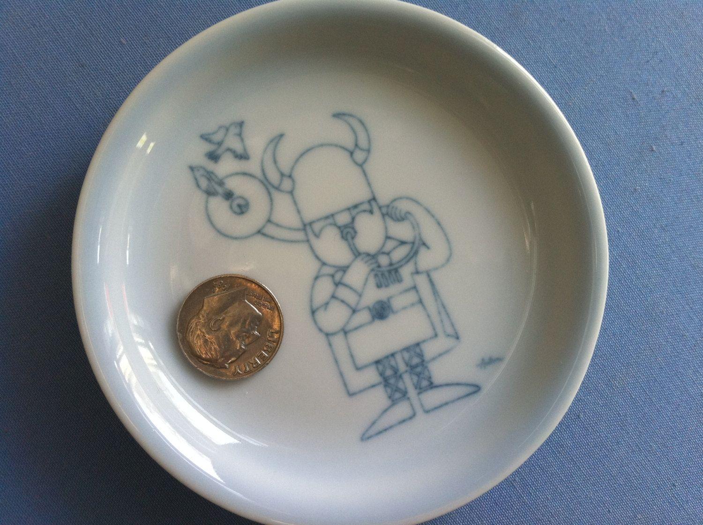 Sweet Tiny Danish Coaster Viking Playing Tuba Mod Bird 14 00 Via Etsy Ceramic Coasters Blue Ceramics Mid Century Ceramics