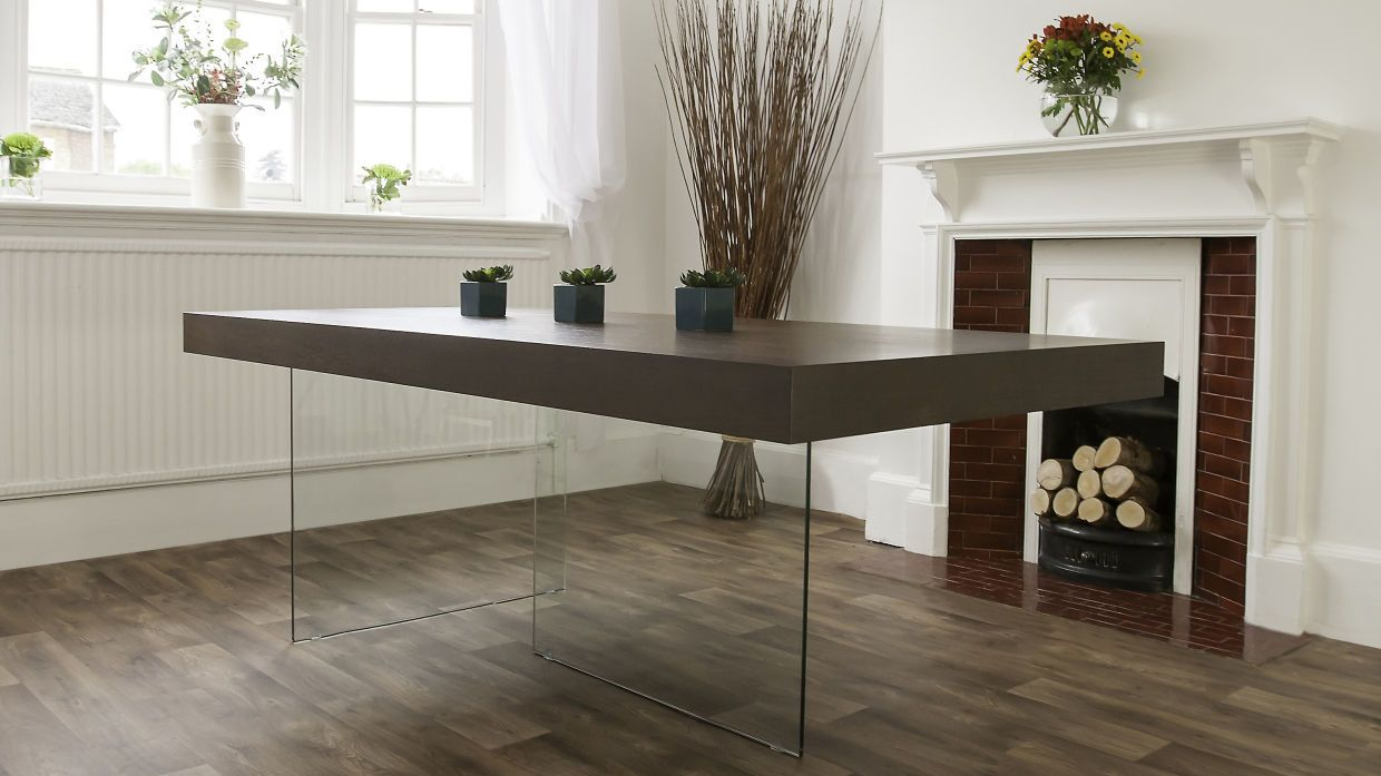 Good Modern Dark Wood Dining Table | Glass Legs | Seats 6 To 8