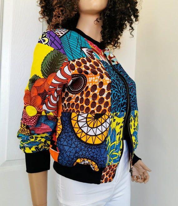 PATCHWORK African Print BOMBER Jacket / Cardigan 100% Wax Cotton Handmade UK