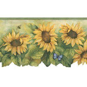Sunflowers and Butterflies wallpaper border Wallpaper