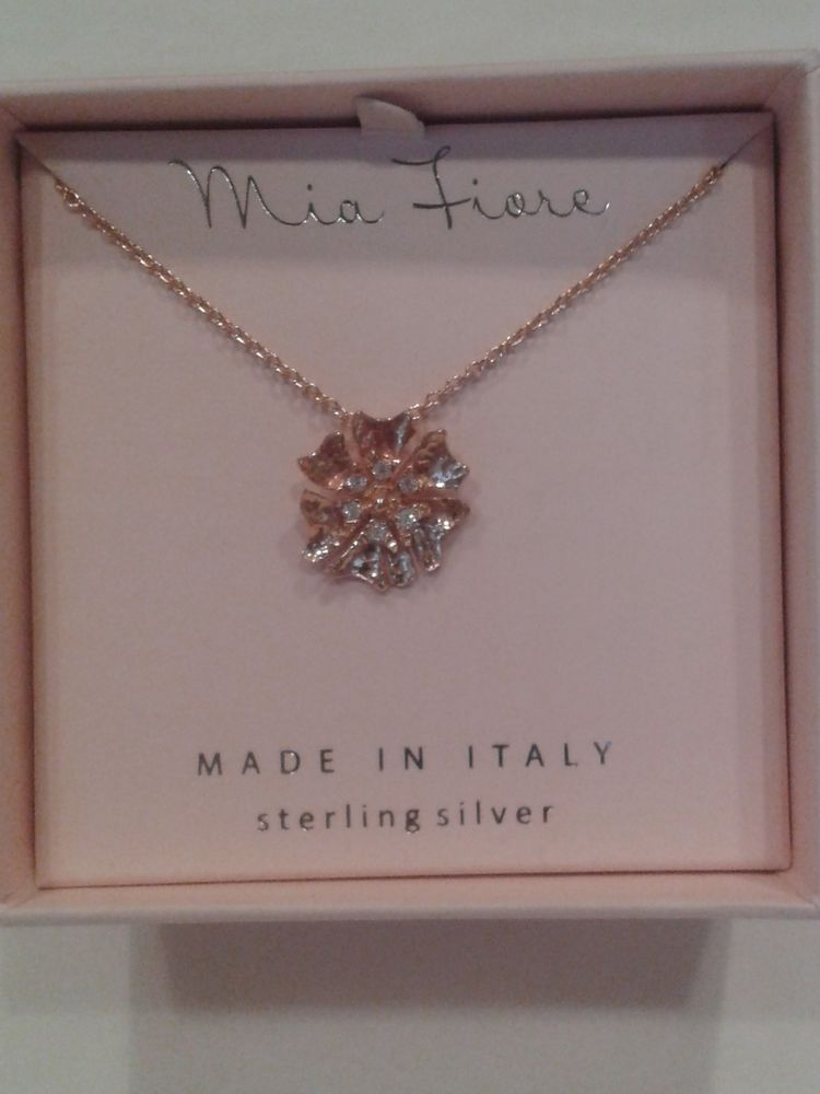 Mia Fiore Rose Gold Vermeil Flower Shape Necklacemade in Italy