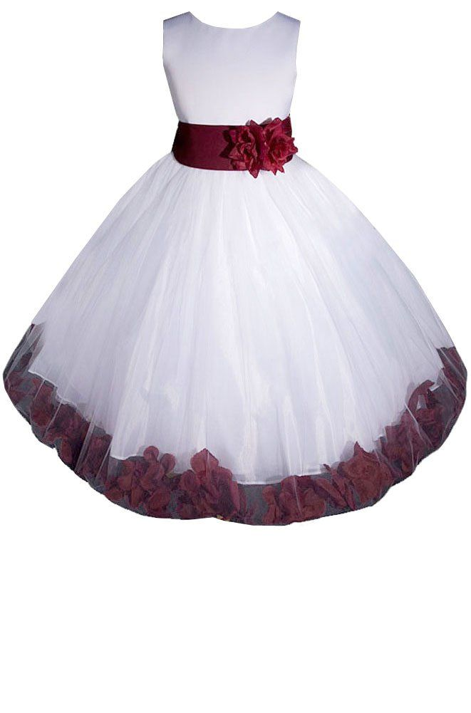 a740434dd55 AMJ Dresses Inc Girls White/burgundy Flower Girl Pageant Dress Size 2 -14  girls different colors. Would be BEAUTIFUL for servants outfits in the  house ...