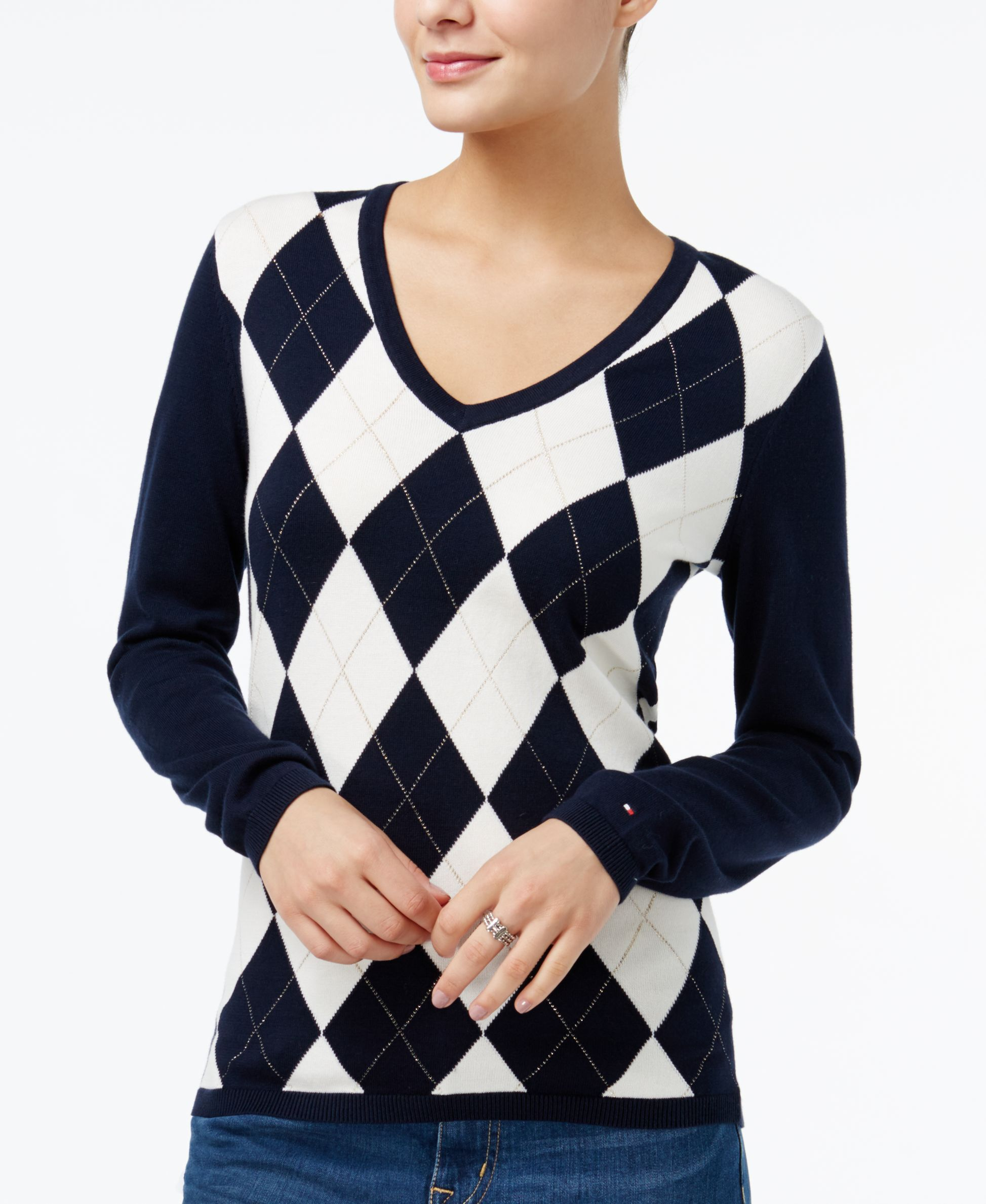 Tommy Hilfiger Ivy VNeck Argyle Sweater, Only at Macy's