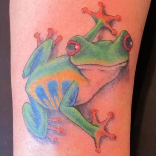 Amazing Colorful Tree Frog Tattoo Design Watercolor Paintings Of