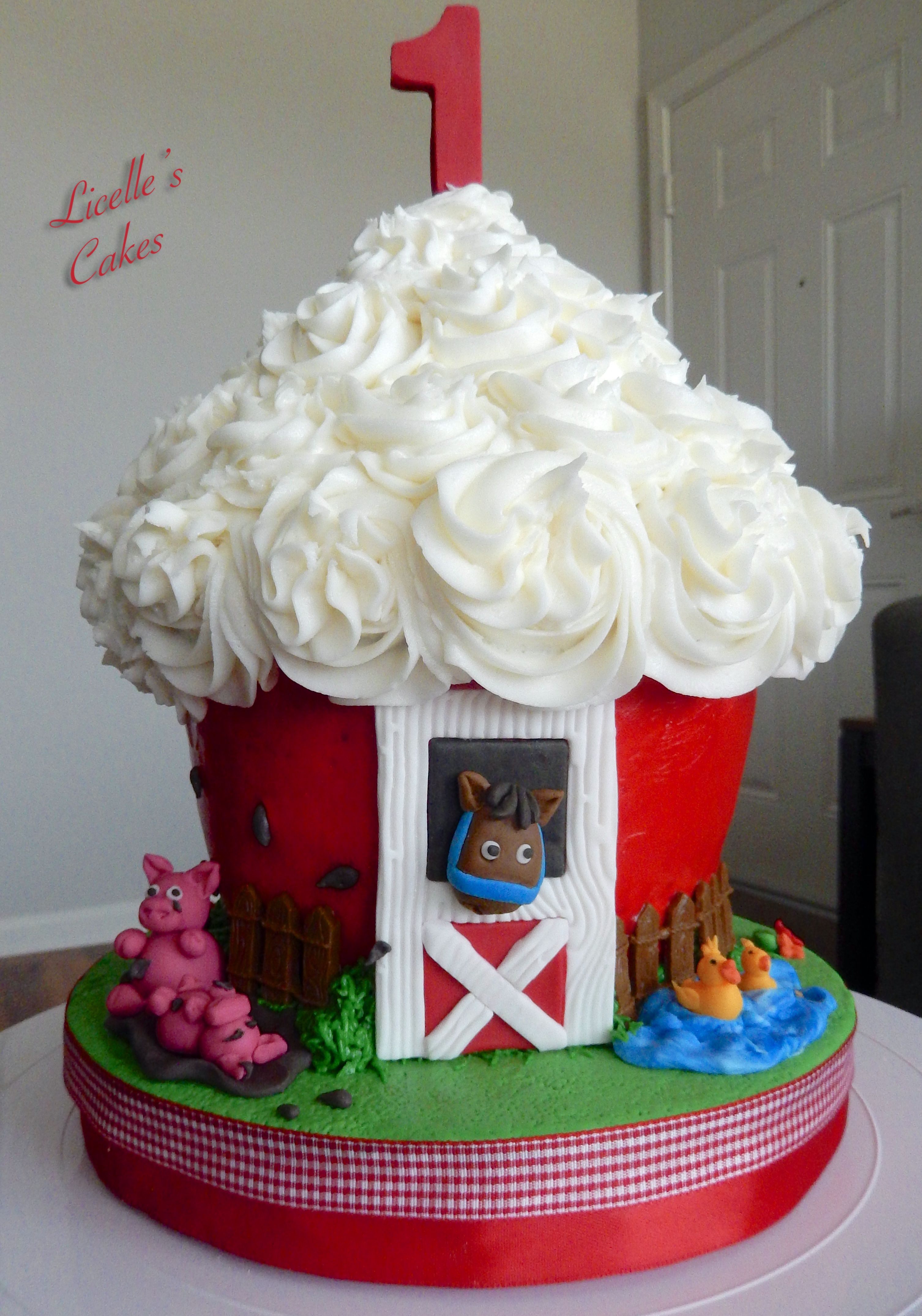 Giant Cupcake Red Barn Smash Cake With A Few Fondant Animal Farm