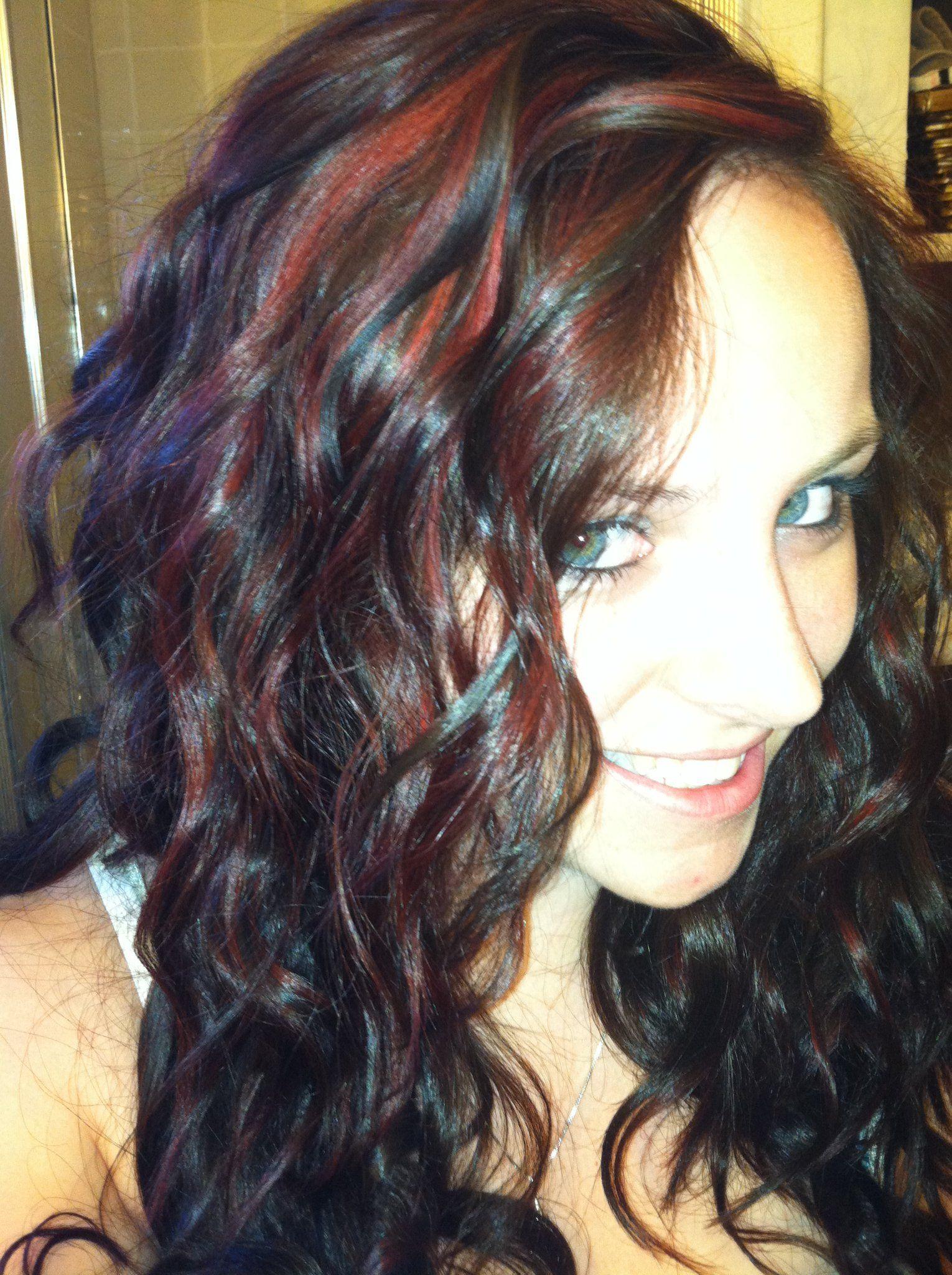 Dark Auburn With Bright Red Peek A Boo Highlights The