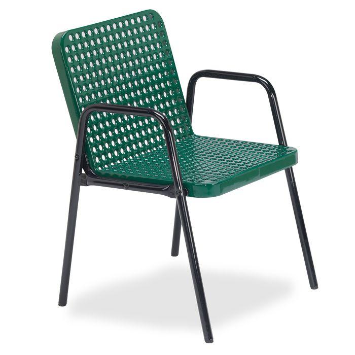 Veranda Square Perforated Steel Café Chair   Pool U0026 Patio Furnishings    Upbeat.com
