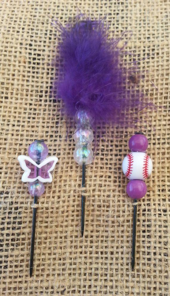 Purple Softball Beaded Push Pin Set by GrlFridayProductions, $5.00