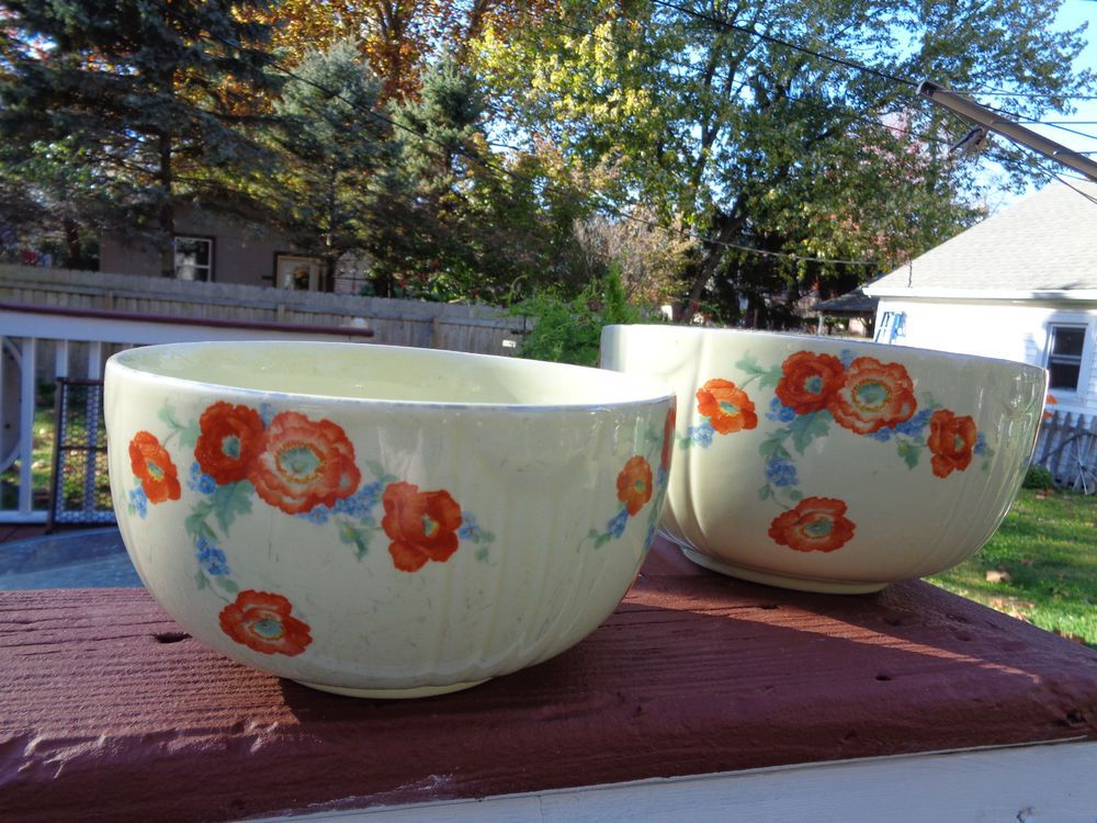 Vintage Hall China Kitchenware Orange Poppy Nesting Mixing Bowls ~ @ #HALLSSuperiorChinaKitchenware & Vintage Hall China Kitchenware Orange Poppy Nesting Mixing Bowls ...