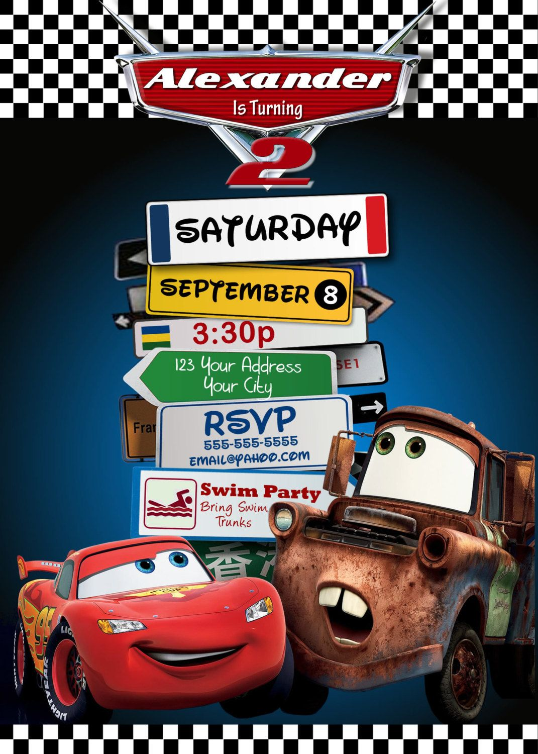 Disney Pixar Cars Lightning Mcqueen Mater Birthday Party Invitations