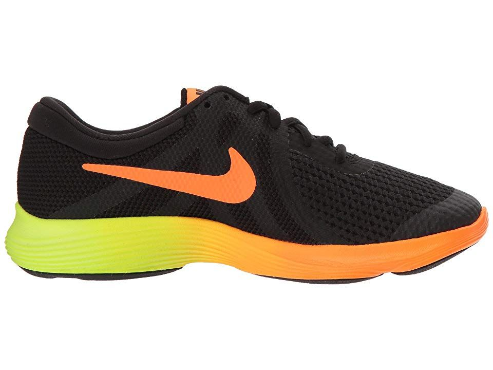 c8f3e2d13820 Nike Kids Revolution 4 Fade (Big Kid) Boys Shoes Black Total  Orange Volt Black