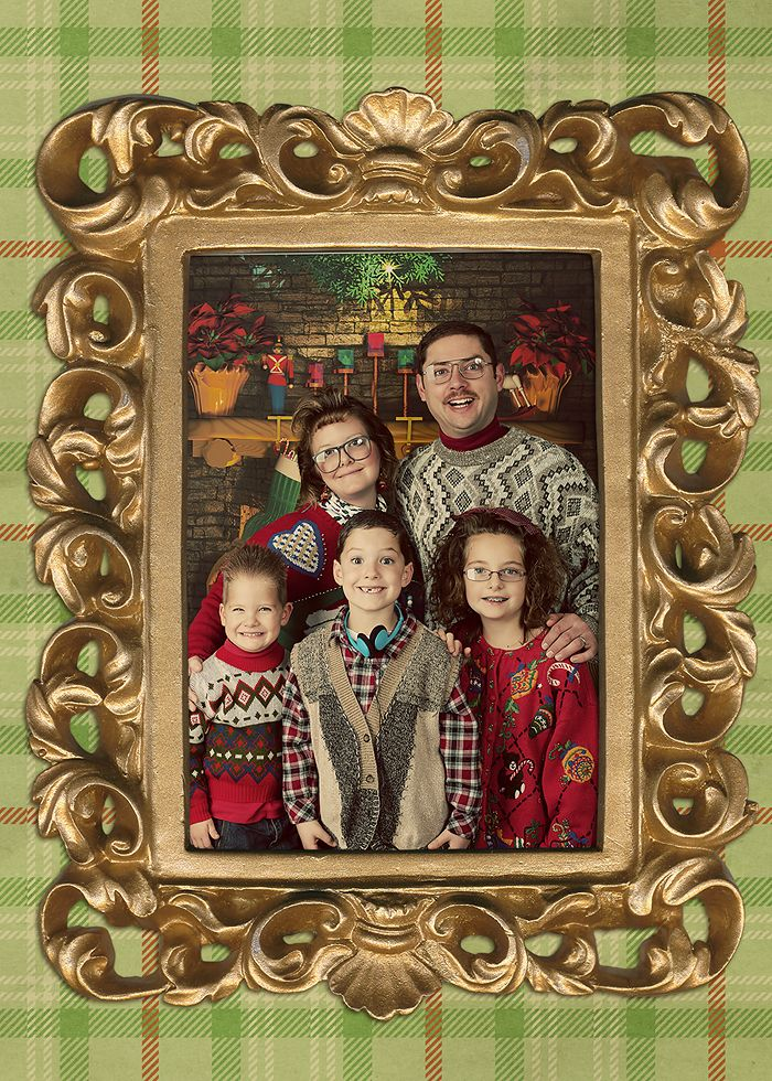 hilarious....staged ugly sweater shoot for Christmas cards ...