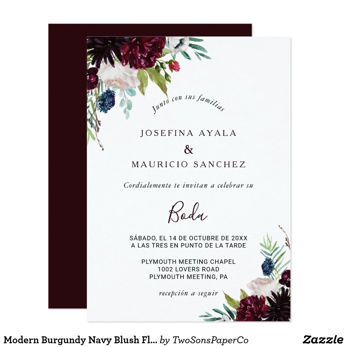 Modern burgundy navy blush floral spanish wedding