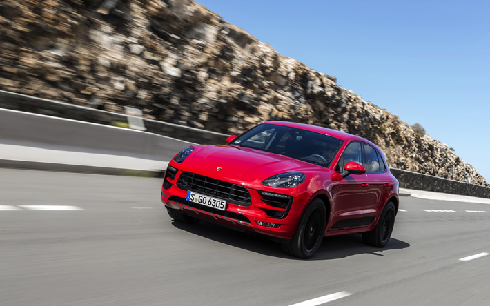 Download Wallpapers Porsche Macan Gts 2018 Luxury Red Suv Red