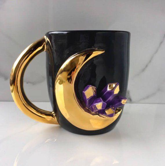 Crystal Mug, Lunar Crystal Mug in Amethyst, Gold Moon Mug, Sailor Moon Mug, Ceramic Crystal Mug #cutecups
