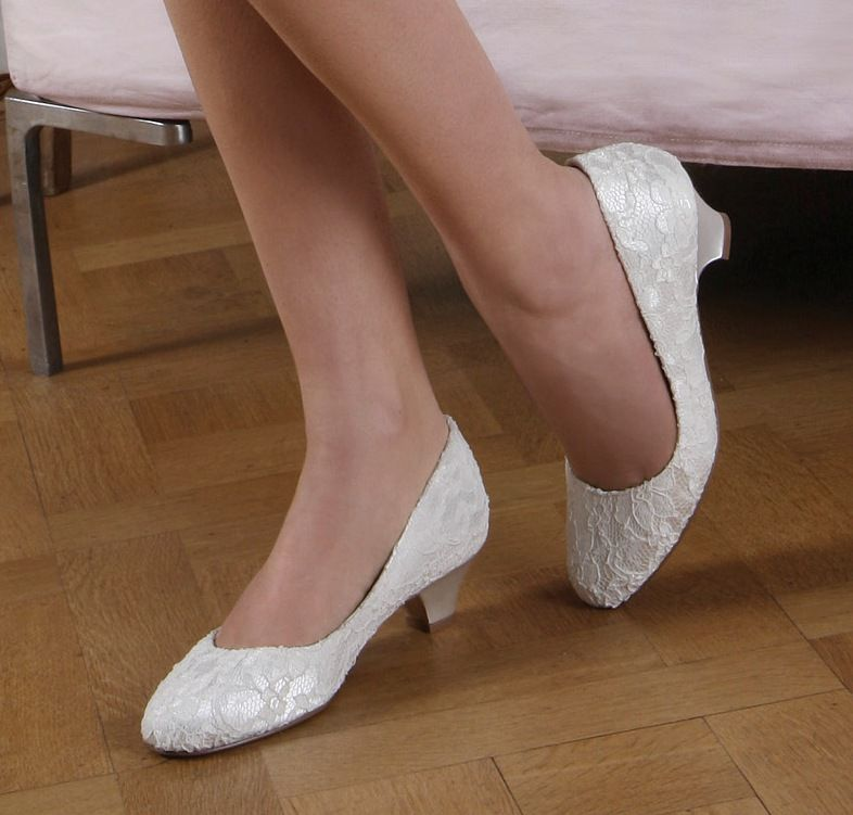 Pink Low Heel Wedding Shoes: Ivory Lace Wedding Shoes Low Heel