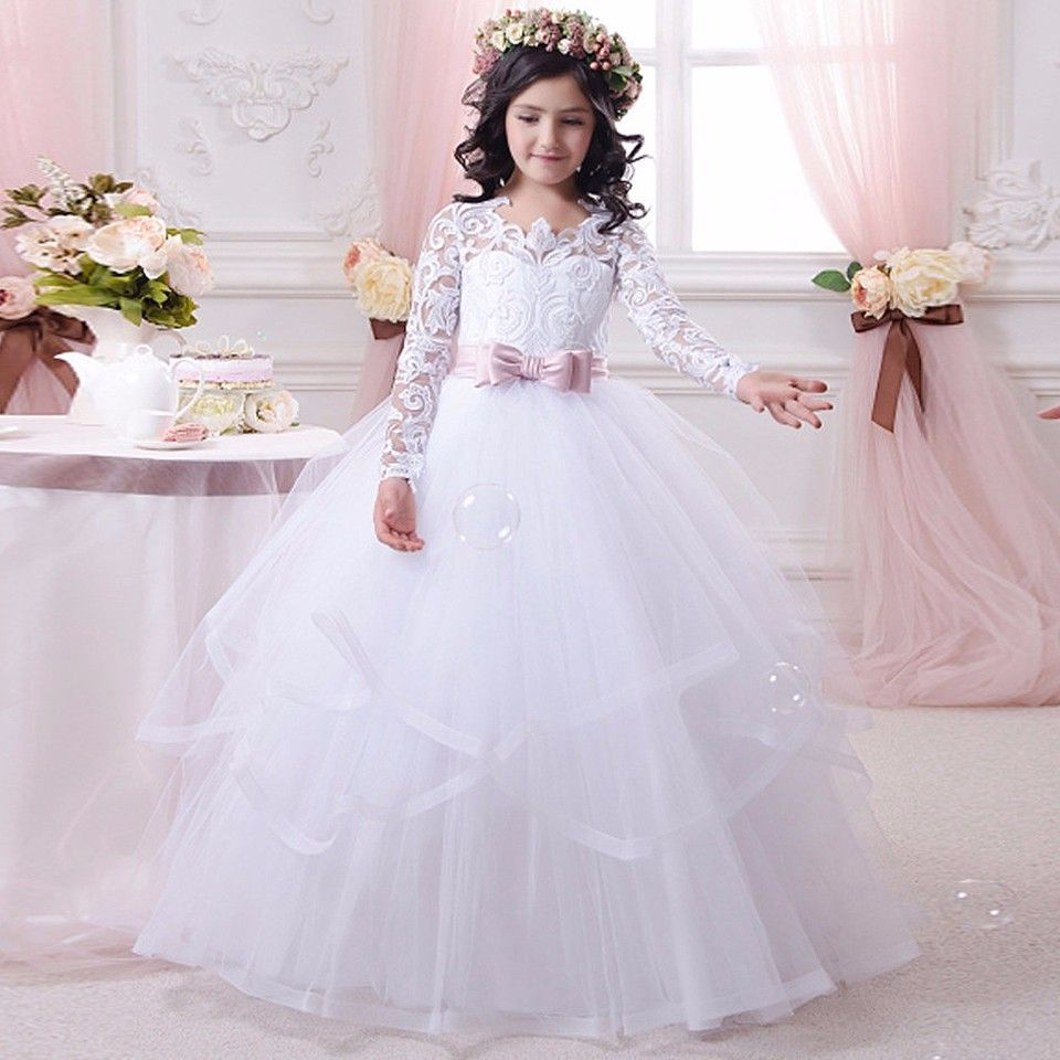 Girls wedding dress  Click to Buy ucuc Vintage Lace Tulle Ball Gown Flower Girl Dresses For