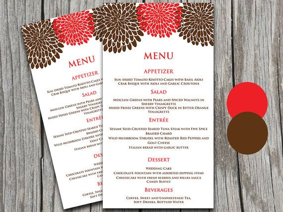 Chrysanthemum Autumn Wedding Menu Card Microsoft Word Template - christmas menu word template